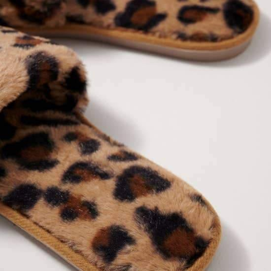 Leopard Furry Slippers Slides