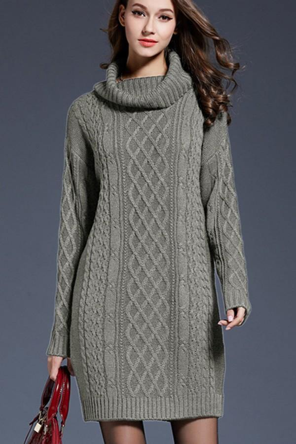 Cable Turtleneck Tunic dress