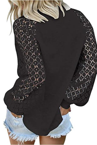 Lace sleeved Waffle Top, Black