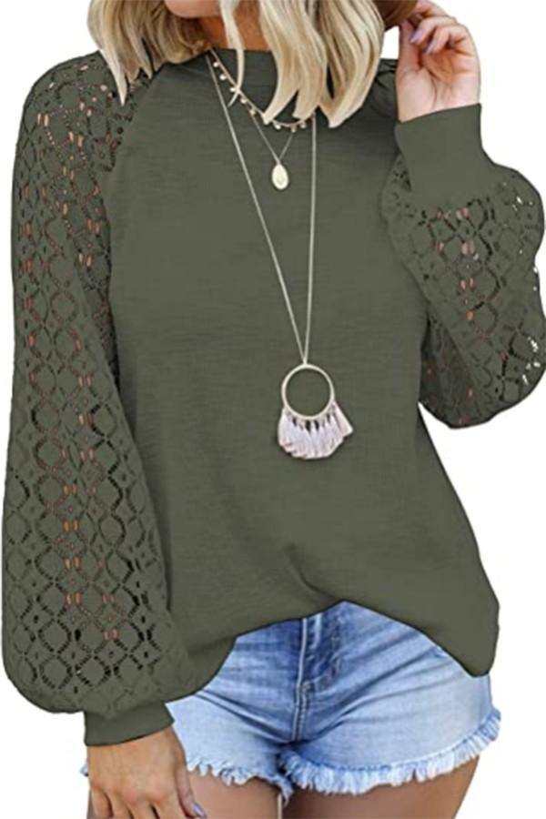 Lace sleeved Waffle Top, Olive