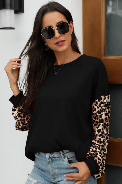 Leopard Sleeved Top