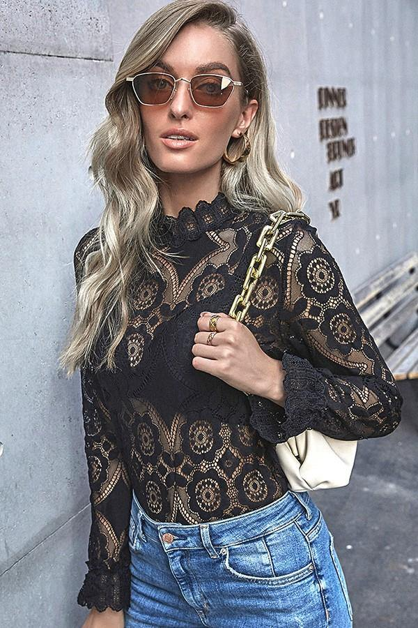 Black Lace Mock Top