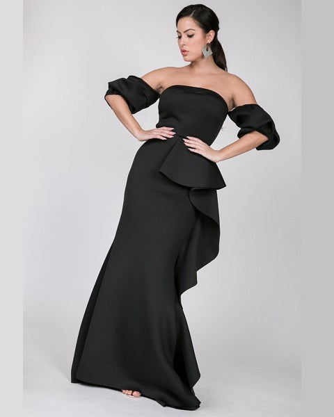 Black Cascade Gown