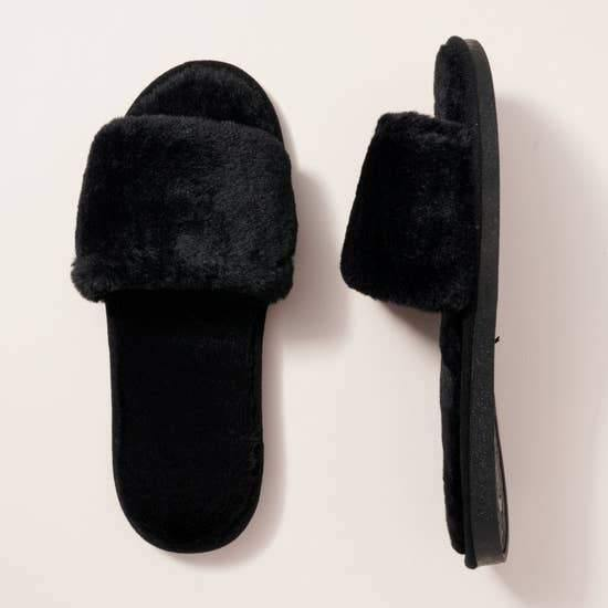 Black Furry Slippers Slides