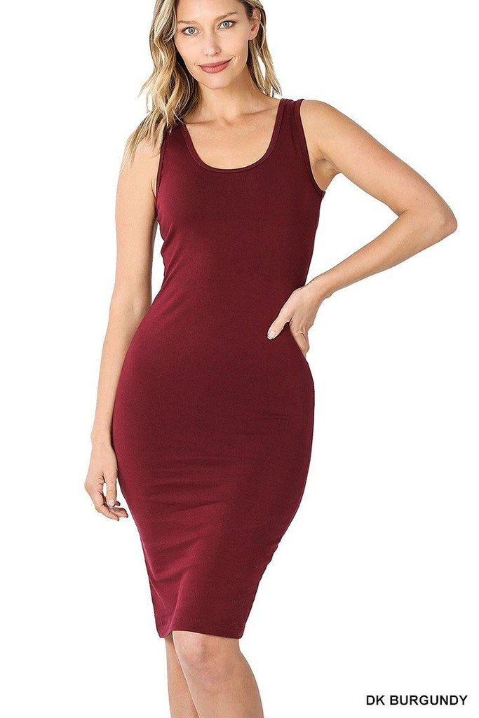 Basic Midi Dress, Dark Burgundy