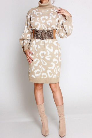 Leopard Turtleneck Sweater Dress