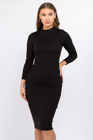 Basic Black Mock Neck Bodycon Dress