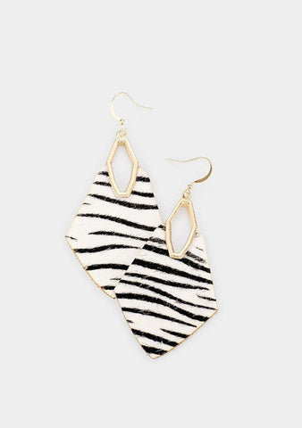 Zebra Leather Geometric Earrings