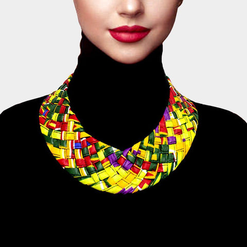 Braided Print Bib Necklace, Yellow