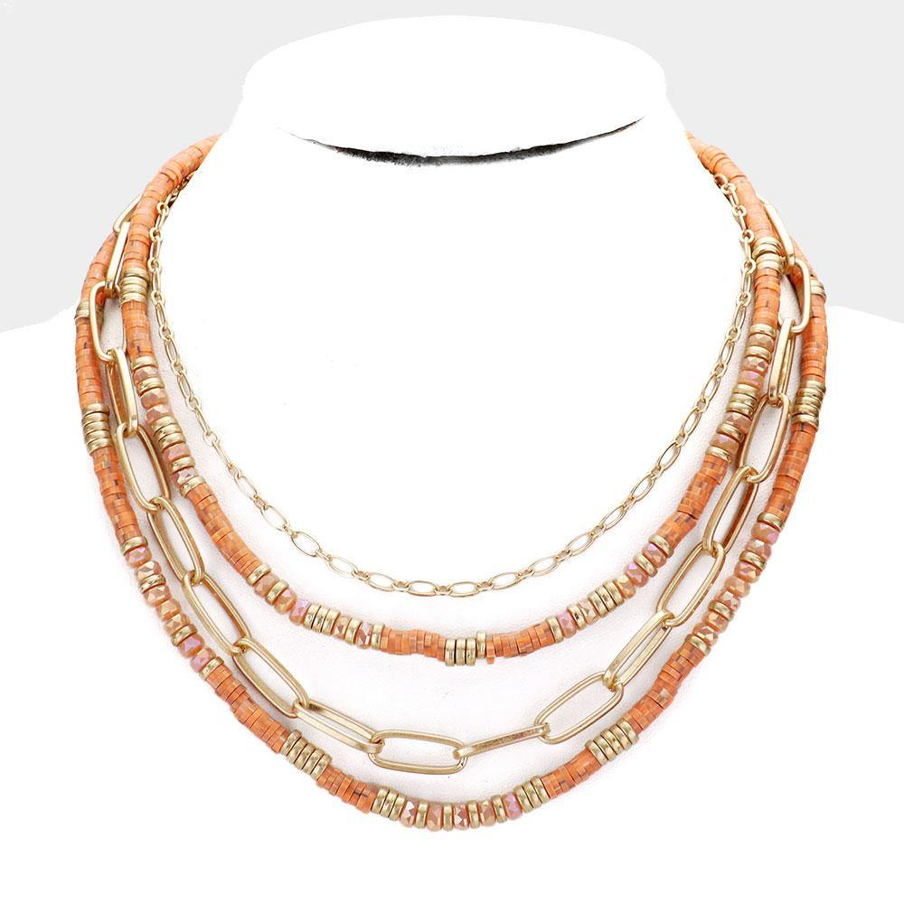 Orange Multi Strand Beaded Necklace
