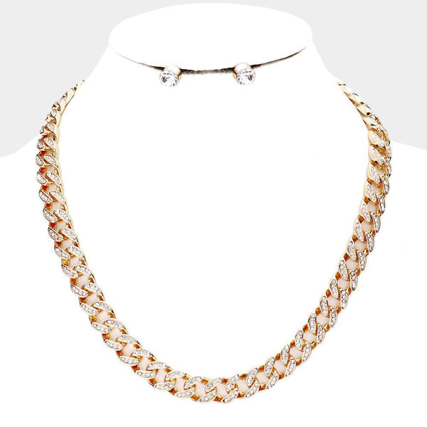 Rhinestone Embellished Chunky Chain Necklace
