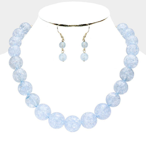 Cracked Lucite Necklace, Baby blue