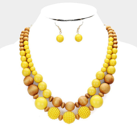 Wood Double Layered Bauble, Mustard