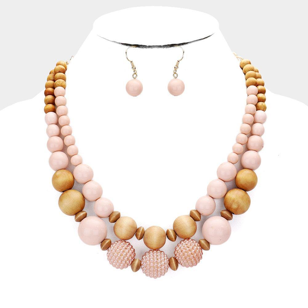 Wood Double Layered Bauble, Blush