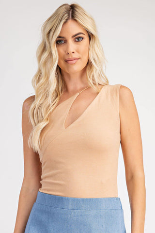 Shoulder Cut Bodysuit, Sand