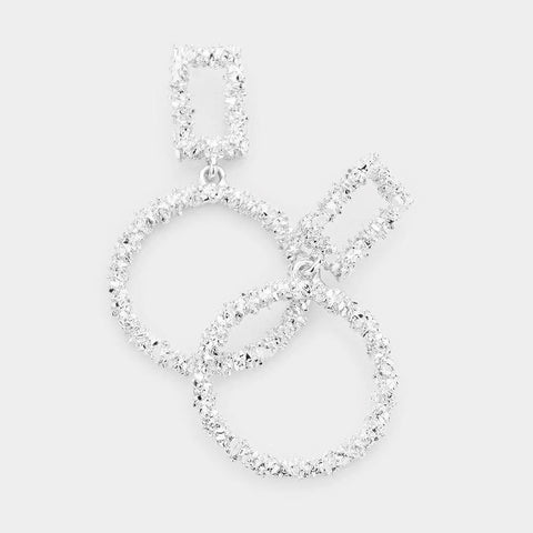 Textured Circle Dangle Hoops, Silver