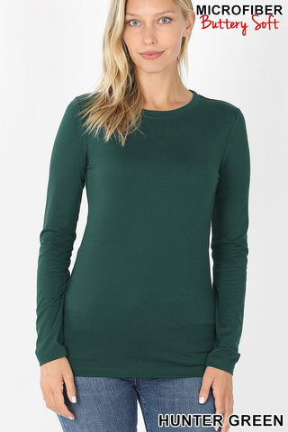 Feels Like Butter Basic Long Sleeve Top - Hunter Green