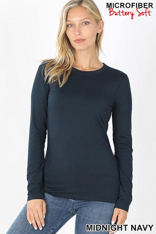 Feels Like Butter Basic Long Sleeve Top - Midnight Navy