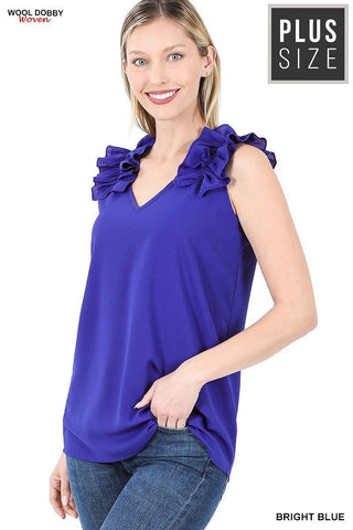 Dobby Ruffle Top, Royal Blue