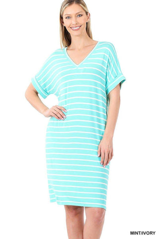 Mint Stripe T-Shirt Dress