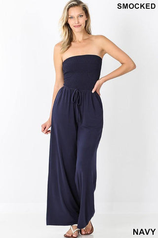 Smocked Jumpsuit, Navy