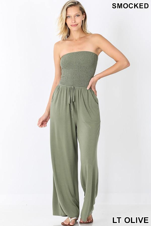 Smocked Jumpsuit, Light Olive