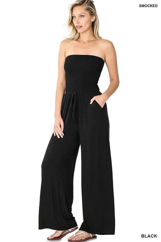 Smocked Jumpsuit, Black