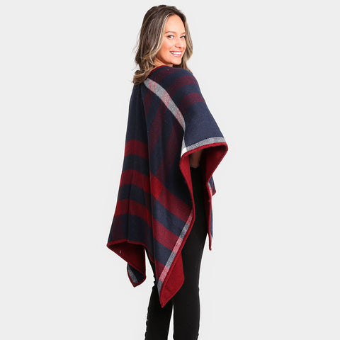 Plaid Check Poncho