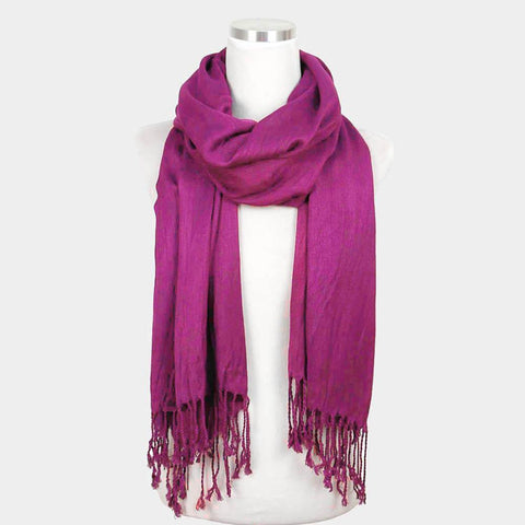 Solid Crinkle Scarf, purple