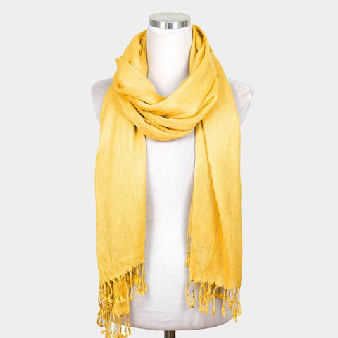 Solid Crinkle Scarf, yellow