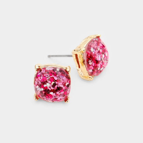 Glitter Square Stud Earrings, Fuchsia