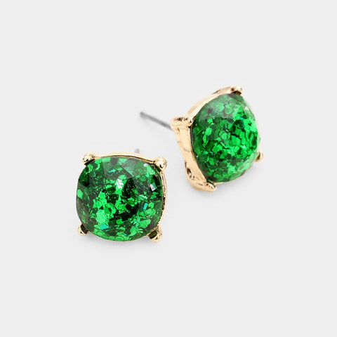 Glitter Square Stud Earrings, Green