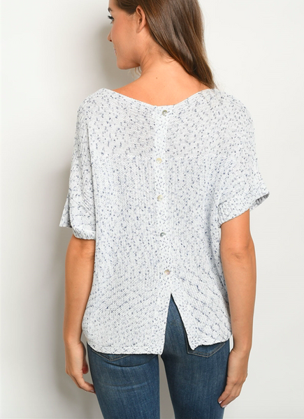 Confetti Sweater Top/ Blue & White