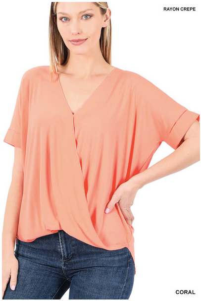 Wrap Me Up Plus Top, Coral