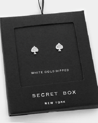 Secret Box - Gold Dipped Spade Studs - FashionFunPop, Trendy, fashion, plus, skinny, fitted, ripped, dress, dresses, tops, blazers, women, clothing, bathing suits, swimwear, vacation, stylish, jewelry, accessories, handbags, shoes, boutique, shopping, store, clutch, clutches, handbag, blouses, mom, mommy, tee, tees, jeans,   pants, maxi, maxies, rompers, jumpers, sexy, clearance, new, sales, mika rose, she and sky, &, blvd, in style, esley, gilli, blu pepper, earrings, bracelets, bangles, statement, necklaces, scarfs, gloves, ripped, sweaters, bikini, tankini, one piece, stop staring, gowns, prom dresses, wedding dresses, wedding, prom