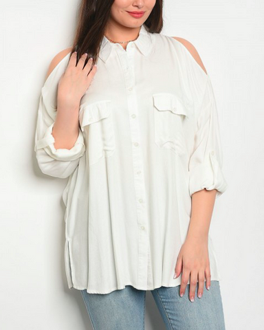 Ivory Cold Shoulder Shirt