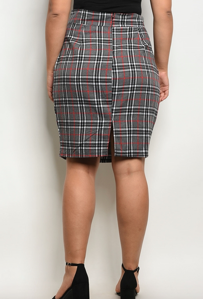 Gray Check Plus Skirt