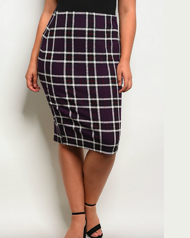 Purple Plaid Pencil Skirt