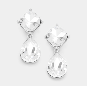 Crystal Teardrop Earrings - Clear Bling