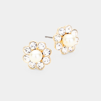 Flower Bling Earrings -Cream/Gold
