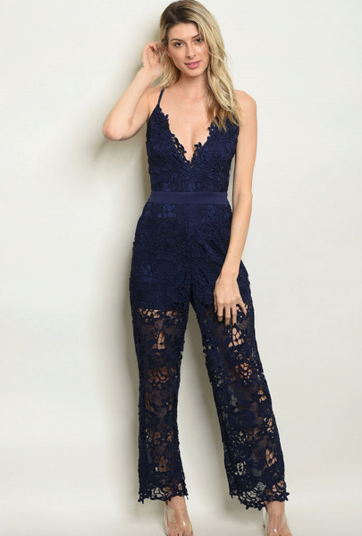 Navy Crochet Jumpsuit