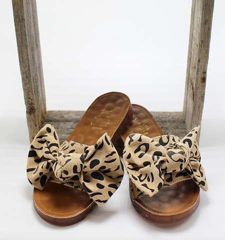 Leopard Bow Sandals - Taupe