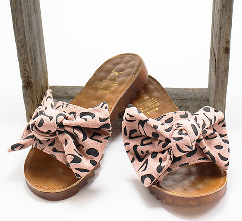 Leopard Bow Sandals - Pink