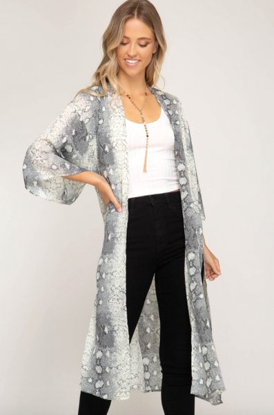 Snake Cardigan/Coverup - Gray