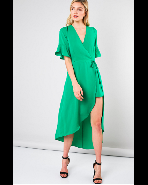 Front Wrap Dress Romper - Kelly Green