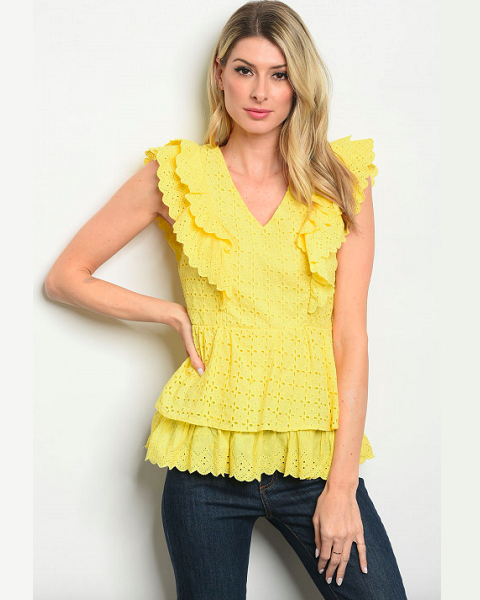 Lemon Eyelet Top
