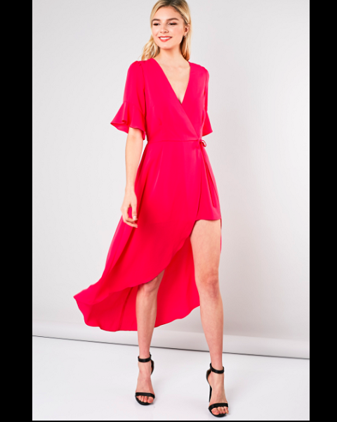 Front Wrap Dress Romper - Fuchsia