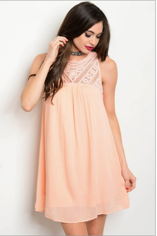 Peach Crochet Dress