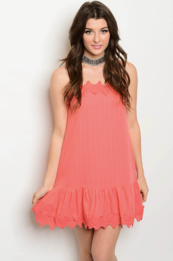 Coral Crochet Summer Dress