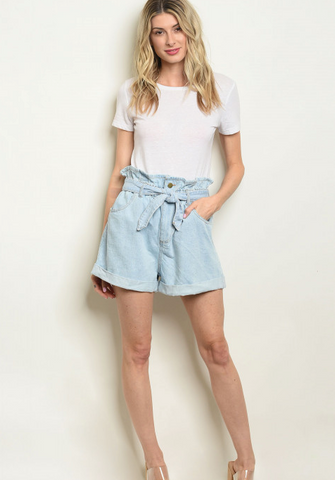 Boyfriend Belted Denim Shorts